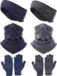 گترهای گرمکن گردن Syhood 6 قطعه با بند بند پشم گوسفند دستکش صفحه لمسی دستکش صفحه لمسی برای زمستان بزرگسالان