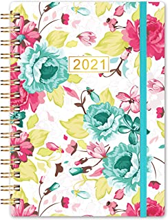 """Planner 2021- Weekly & Monthly Planner, 8.5"""" x 6.4"""", January 2021 - December 2021, Flexible Floral Hardcover with Strong G..."""
