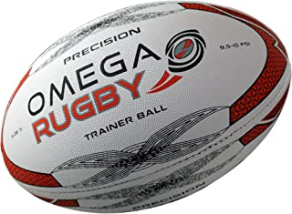 Omega Rugby Precision Training Rugby Ball (Red/Black, 4 (Ages 10-14))