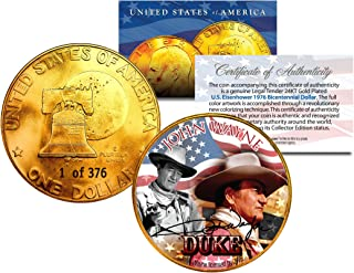 1976 JOHN WAYNE 24K Gold Plated IKE Dollar Each Coin Serial Numbered of 376