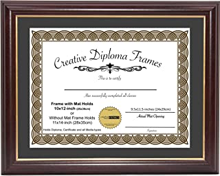 CreativePF [10x12-Diploma] Mahogany Frame with Gold Rim, Black Matting Holds 11x14-inch Documents with Glass and Installed Wall Hanger