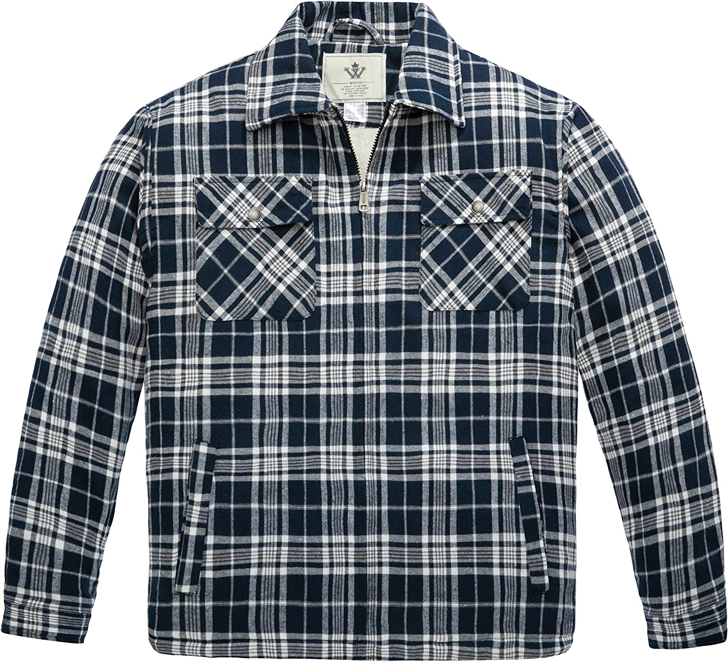 WenVen Men's Flannel Jacket Zip Ranking integrated 1st place Max 79% OFF Up Lined Sherpa Heavy Fleece Shi