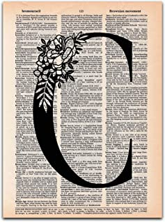 C - Monogram Wall Decor, Letter Wall Art, Dictionary Page Art Print, 8x11 UNFRAMED