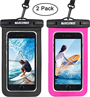 Universal Waterproof Case 2 Pack, MARCHWAY Cellphone Dry Bag Pouch with Touch ID Fingerprint for Apple iPhone 8/8 Plus/7/7 Plus/6S/6S Plus, Samsung Galaxy S8/S7, Any Phone Up to 7 Inch (Black+Magenta)
