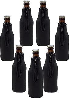 Neoprene Bottle Sleeves | Pack of 7 Black Plain Beer Bottle Cooler Covers Fit 12 oz Bottles by Impirilux (7, Black)