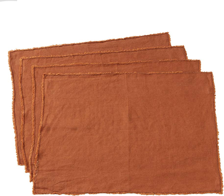 SARO LIFESTYLE 13009 TC1420B Graciella Collection Linen Stone Washed Placemats Set Of 4 14 X 20 Terracotta
