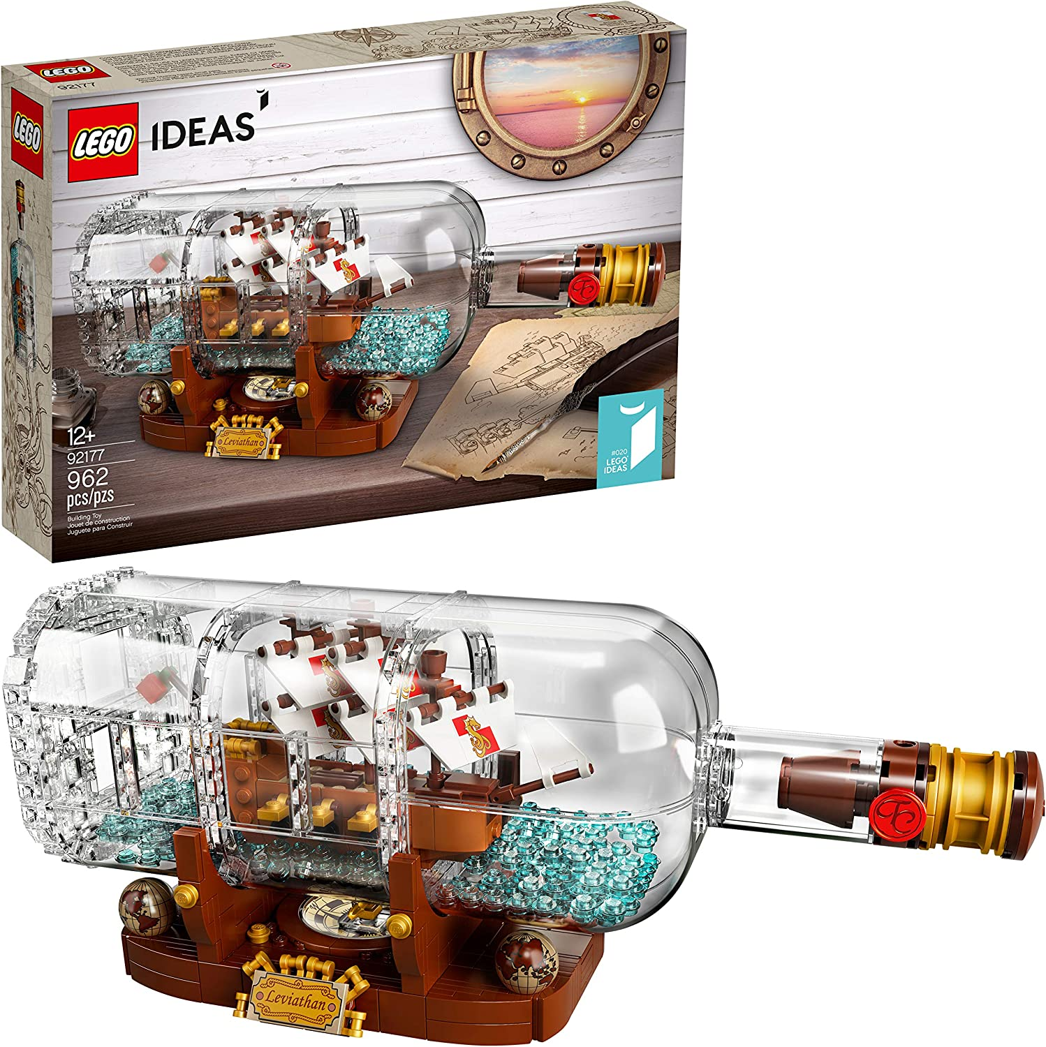 LEGO Ideas Ship in a Bottle 92177 Expert Building Kit, Snap Together Model Ship, Collectible Display Set and Toy for Adults (962 Pieces): Toys & Games