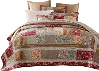 Tache Cotton Charming Fairytale Tea Party Floral Patchwork Reversible Quilt Bedspread Set, Cal King