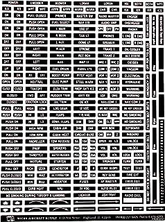 Variedade de placas de aviação, letras brancas em fundo preto