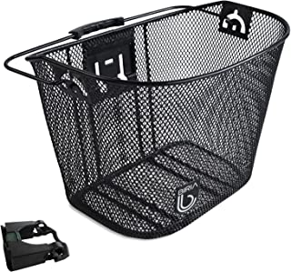 Biria Bicycle Basket with Bracket Black - Front Quick Release Basket, Removable, Wire Mesh Bicycle Basket Express klick, Black