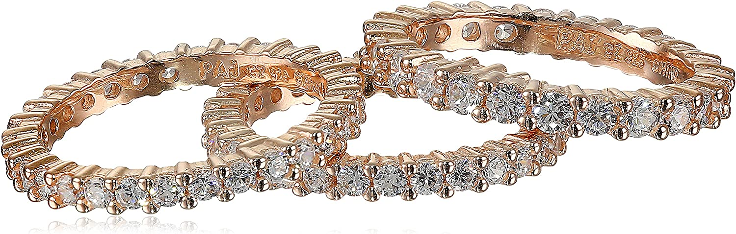 Three Rose Gold Plated Discount mail order Manufacturer OFFicial shop Sterling Zirconia Silver All-Around Cubic