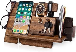 TESLYAR Natural Walnut Wood Phone Docking Station Key Hooks Holder Wallet Stand Watch Organizer Men Gift Husband Anniversa...