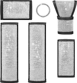 لوازم جانبی اتومبیل 6PCS Crystal Diamond ، 1 پوشش دنده اتومبیل Bling ، 1 پوشش ترمز دستی ، 1 پوشش دسته ، 2 پوشش کمربند ایمنی اتومبیل و 1 تزئین حلقه برچسب اتومبیل دکوراسیون داخلی Bling Auto برای تزئین ماشین
