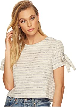 Printed Short Sleeve Top with Tie Sleeve Detail