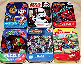 6 Collectible Puzzle Tins for Boys Ages 5+ Gift Set Bundle PJMasks Spider-Man Star Wars Mickey Mouse Donald Duck Daffy Duck Avengers Paw Patrol