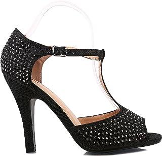 ANNA Lux-100 Womens Thong Toe Triangle Upper Stud Decor Slingback PU Sandals