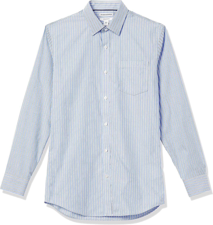 1930s Men's Clothing Amazon Essentials Mens Slim-Fit Wrinkle-Resistant Long-Sleeve Dress Shirt  AT vintagedancer.com