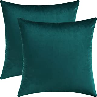 Best Mixhug Set of 2 Cozy Velvet Square Decorative Throw Pillow Covers for Couch and Bed, Teal, 18 x 18 Inches Review