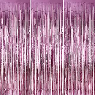 Sumind 3 Pack Metallic Tinsel Curtains, Foil Fringe Shimmer Curtain Door Window Decoration for Birthday Wedding Party (Pink)