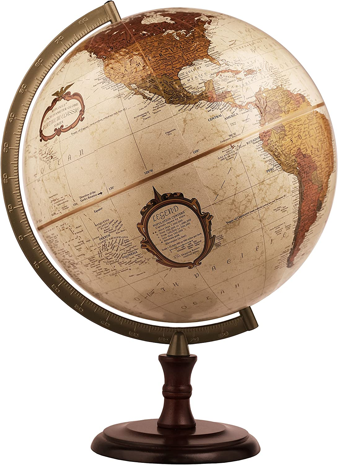Replogle Superior- Bronze Metallic Desktop World Globe, Raised Relief (12  30cm diameter)