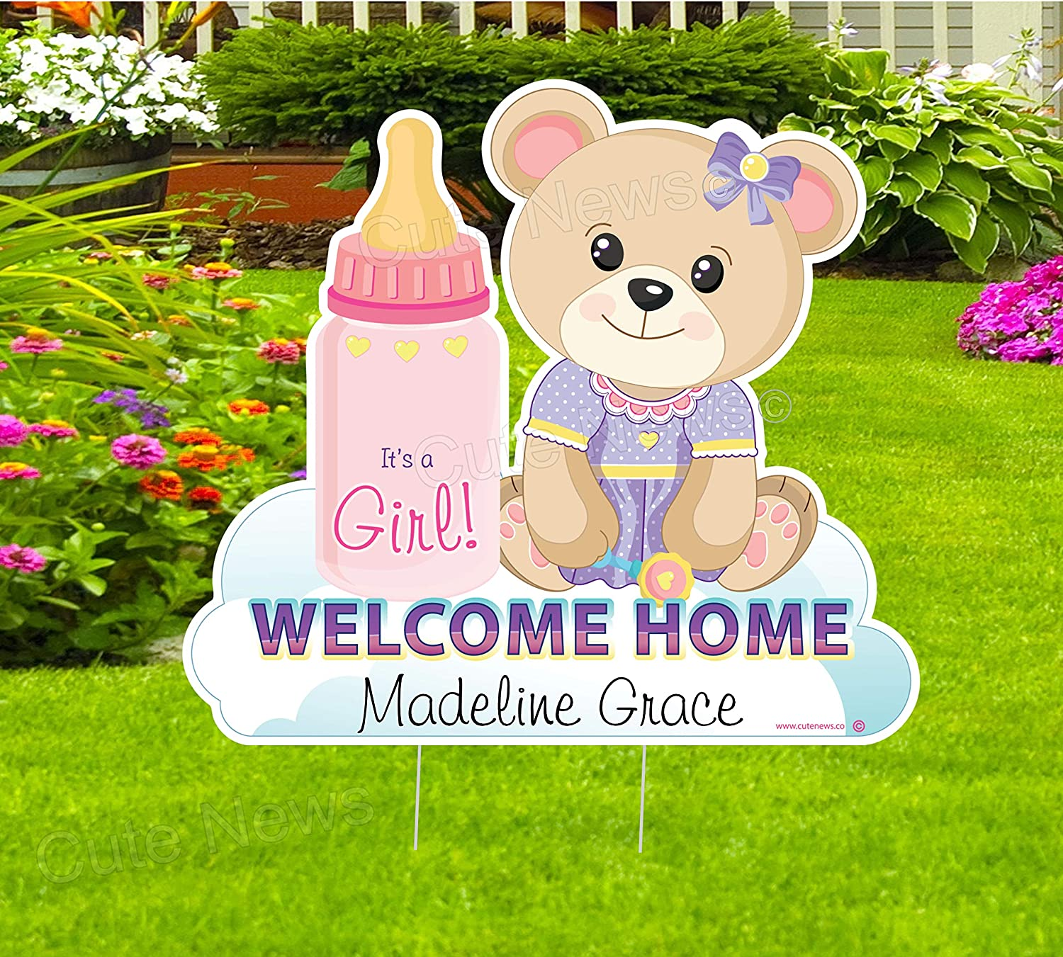 Cute Sale Wholesale special price News Welcome Home New Baby Custom Teddy Bear Yard Sign Nam