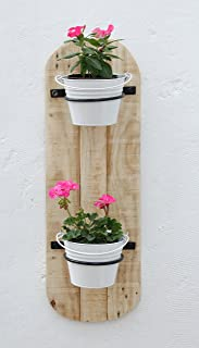 Green Gardenia Vertical Wall 2 Pot Holders with Bucket Planter/Wall Planter, Yellow and Beige (White)