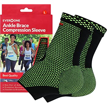 EverOne Ankle Brace Compression Support Sleeve For Injury Prevention, Healing and Recovery, Unisex, 1 Pair (2 pcs), Large