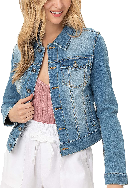 Women's Casual Vintage Distressed Cropped Long Sleeve Denim Jean Jacket LT8776JS Light Blue L