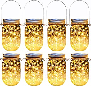 Yitee Hanging Mason Jar Solar Fairy Lights,8 Pack 30 Led Firefly Glass Jar Lights,Solar Lantern for Outdoor Patio Party Garden Wedding Christmas Table Decor Lights (Jars/Handles Included)