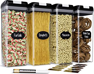 Chef's Path Airtight Tall Food Storage Container Set - 4 PC Set/All Same Size - Kitchen & Pantry Dry Food Containers - Ideal for Spaghetti, Noodles and Pasta - Clear Plastic Canisters with Lids