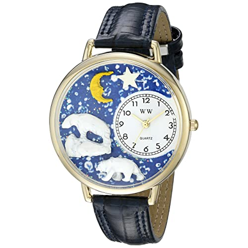 Whimsical Watches Unisex G0150002 Polar Bear Navy Blue Leather Watch