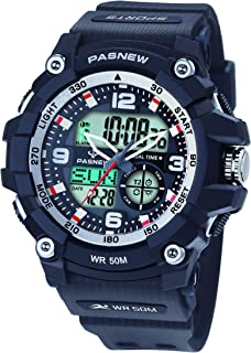 Pasnew Men Digital Watch Men Smart Watch Men Outdoor Sports Watch Military Camouflage Watch with Light Alarm Waterproof Calorie Pedometer Compass Stopwatch Multifunctional Wrist Watches
