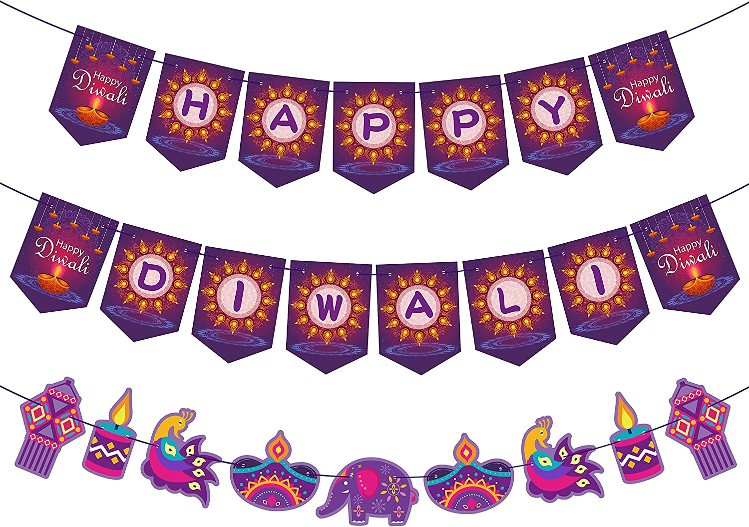 Happy Diwali Banner Party Decorations Deepavali Hanging Banner Purple Card Porch Sign Decor Festival of Lights Row of Lamps Banners Hindu Diwali Greeting Party Decoration Supplies
