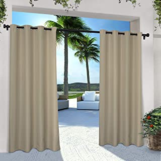 Best Exclusive Home Curtains Indoor/Outdoor Solid Cabana Grommet Top Curtain Panel Pair, 54x108, Taupe, 2 Count Review