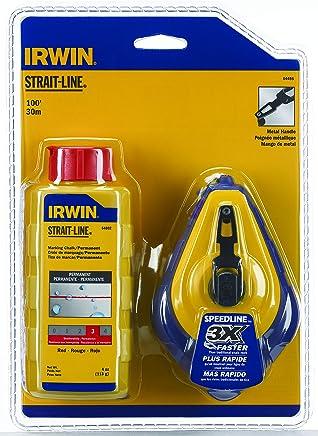 Irwin 64495, Kit Giz de Linha 30M/100 FT com Giz para Marcar, Azul e Amarelo