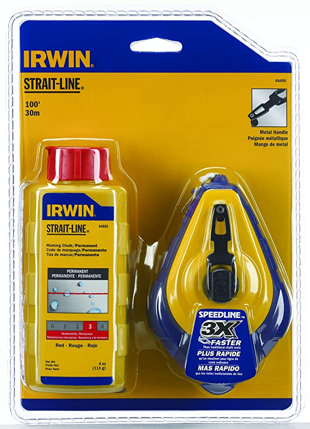 IRWIN Tools STRAIT-LINE 64495 Speed-Line Refillable High-Speed Chalk Line Reel with 4-ounce Chalk, 100-foot, Red Chalk (64495)