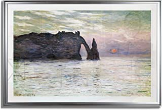 Monet Wall Art Collection The The Manneport, Cliff at Etretat, Sunset, 1883 Fine Giclee Prints Wall Art in Premium Quality Framed Ready to Hang 28X48, Silver