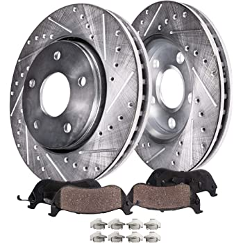 Detroit Axle - 302MM Drilled & Slotted Front Brake Kit Rotor Set & Pads w/Hardware Clip for 08-10 Town & Country - [08-10 Dodge Grand Caravan/Journey] - 09-10 VW Routan - Check Fitment Before Ordering