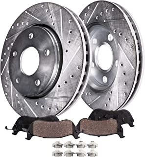 Detroit Axle - Pair (2) Front Drilled and Slotted Disc Brake Rotors w/Ceramic Pads w/Hardware for 2008 2009 2010 2011 2012 2013 2014 2015 2016 Mitsubishi Lancer - [2007-2012 Dodge Caliber]