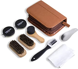 Shoe Shine Kit - Downtown Supply - Professional Shoe Care for all Leather, Suede, Boots with Shoe Polish, Buffing Cloth, Brown Travel Case