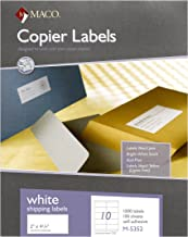 MACO White Copier Shipping Labels, 2 x 4-1/4 Inches, 10 Per Sheet, 1000 Per Box (M-5352)