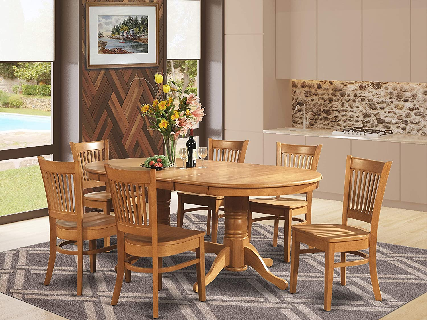 9 Pc Dining room set Dining Table with Leaf and 9 Dining Chairs