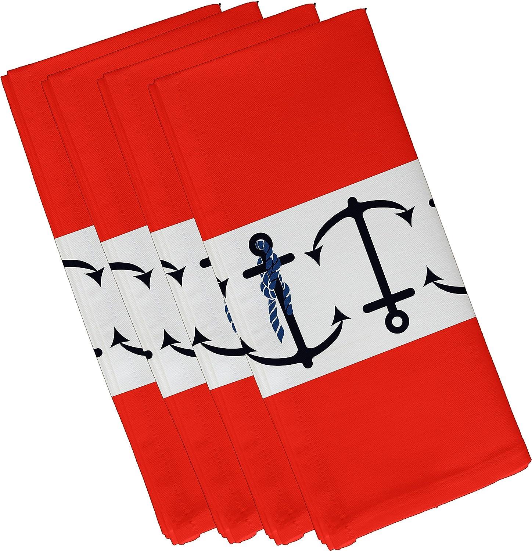 E by design Anchor Stripe, Stripe Print Napkin, 19 x 19 , orange