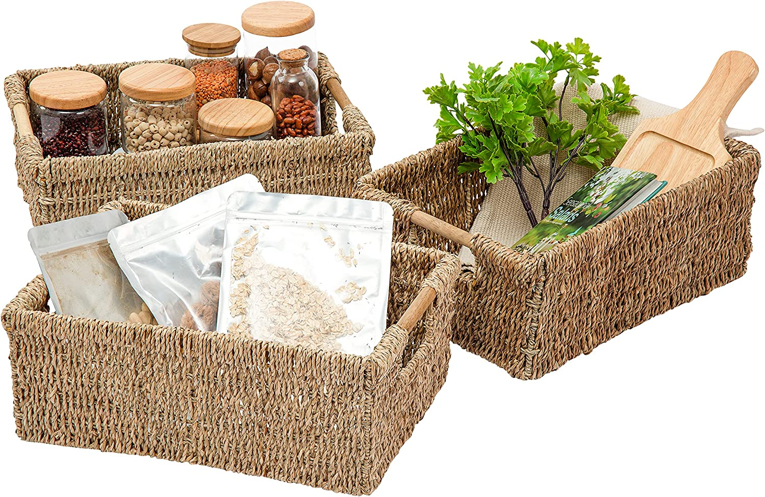 VATIMA Natural Seagrass Storage Rectangular Handle with Cash special price gift Basket