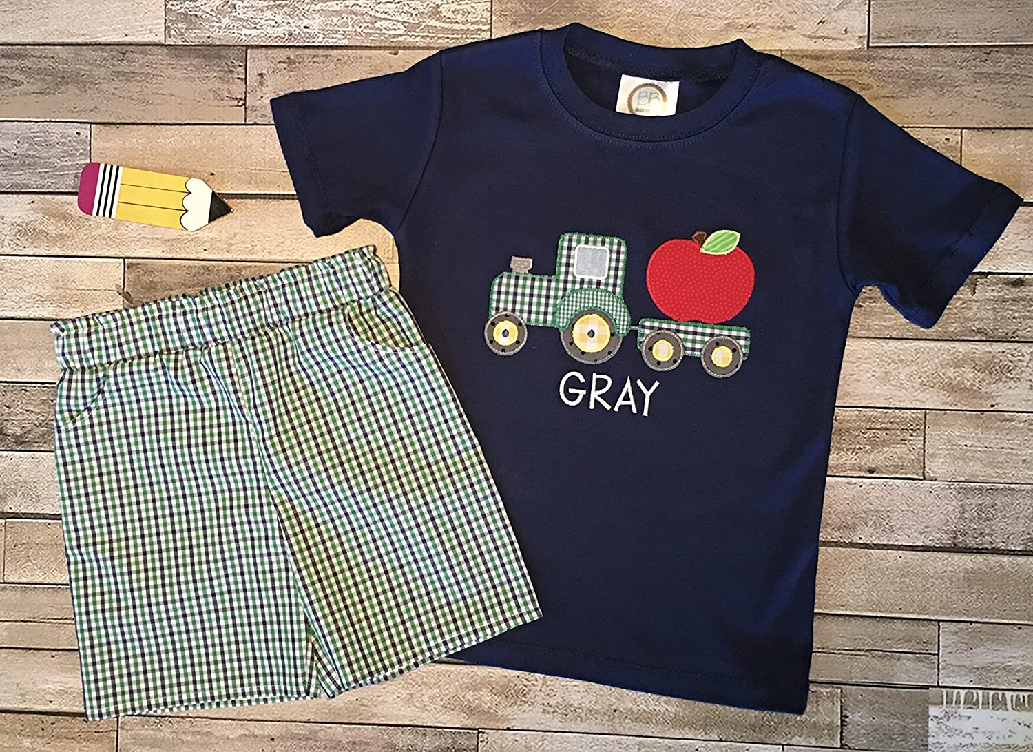 Boys First Day supreme Regular dealer of School Shirt Apple Personalized Ba and Tractor