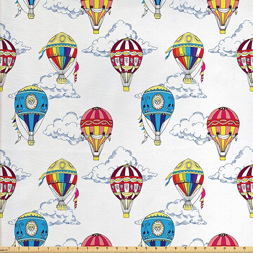 Ambesonne Colorful Fabric by The Yard, Hand Drawn Sketches Clouds and Hot Air Balloons Kids Playroom Nursery, Decorative Fabric for Upholstery and Home Accents, 1 Yard, Multicolor