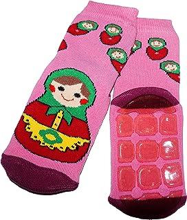 Weri Spezials, Baby-Unisex Terry ABS Matrioshka Pantuflas antideslizantes calcetines color rosa oscuro