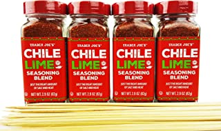 Trader Joe's Chile Lime Seasoning Spice Blend - Gift Bundle With 100 Pack Bamboo Skewers, 2.9 oz (Pack of 4) - Best Enjoyed on Fruit Salad, Veggies, Meats, Grilling