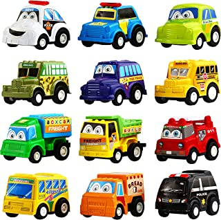 Pull Back Car, 12 Pack Assorted Mini Plastic Vehicle Set,Funcorn Toys Pull Back Truck and Car Toys for Boys Kids Toddler P...
