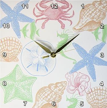 3dRose DPP_183240_1 Shells and Sea Life-Wall Clock, 10 by 10-Inch